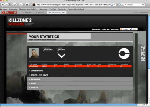 Killzone web game stats
